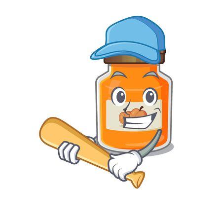 Smiley Funny peach jam a mascot design with baseball. Vector illustration