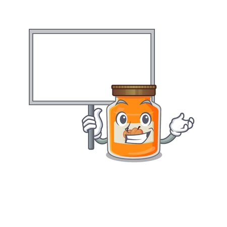 A cute picture of peach jam mascot design with a board. Vector illustration