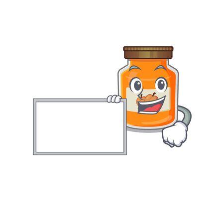 cartoon character of peach jam design concept bring a board. Vector illustration