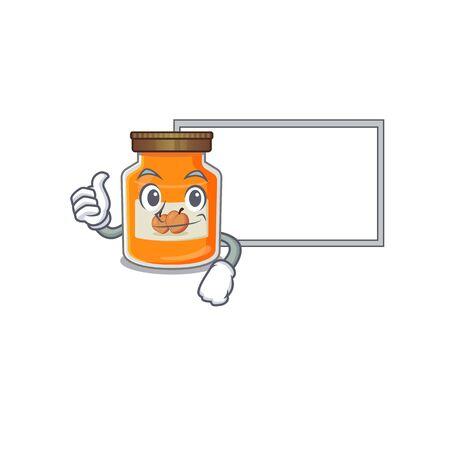Thumbs up of peach jam cartoon design having a board. Vector illustration Ilustrace