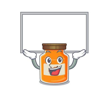 A peach jam mascot picture raised up board. Vector illustration Reklamní fotografie - 140604509