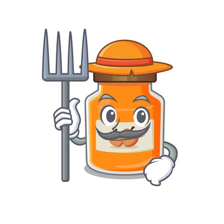 Happy Farmer peach jam cartoon picture with hat and tools. Vector illustration Ilustrace