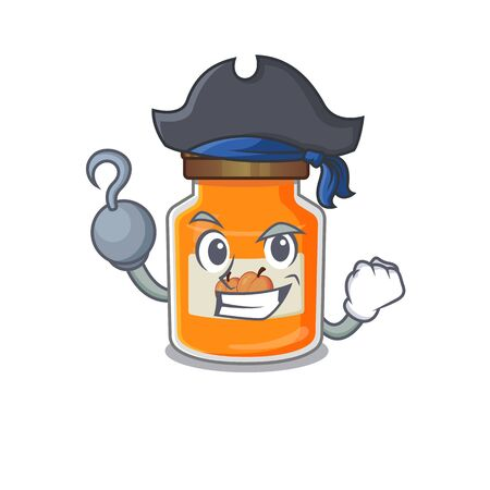Cute peach jam mascot design with a hat. Vector illustration