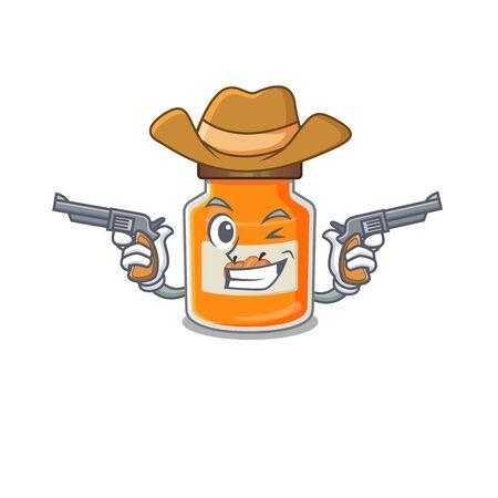 Peach jam Cowboy cartoon concept having guns. Vector illustration Reklamní fotografie - 140626473