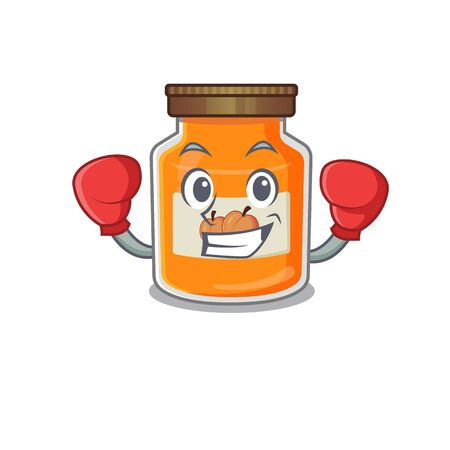 mascot character style of Sporty Boxing peach jam. Vector illustration 向量圖像