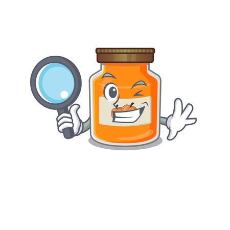 Elegant and Smart peach jam Detective cartoon design concept. Vector illustration