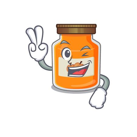 mascot of funny peach jam cartoon Character with two fingers. Vector illustration