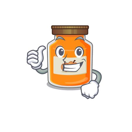 Funny peach jam making Thumbs up gesture. Vector illustration