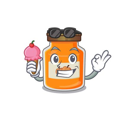 happy face peach jam cartoon design with ice cream. Vector illustration Reklamní fotografie - 140626505