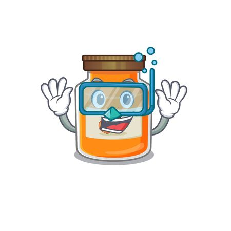 cartoon character of peach jam wearing Diving glasses. Vector illustration Ilustrace