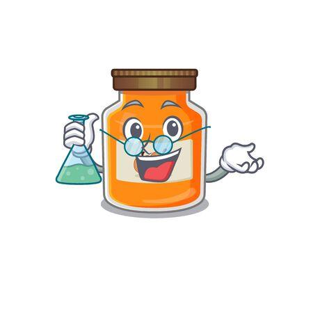 Cool peach jam Professor cartoon character with glass tube. Vector illustration