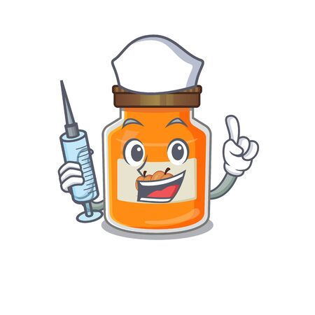 A peach jam hospitable Nurse character with a syringe. Vector illustration