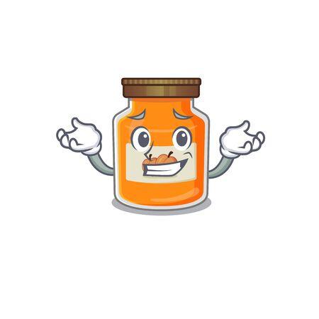 cute Grinning peach jam mascot cartoon style. Vector illustration Ilustrace