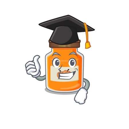 happy and proud of peach jam wearing a black Graduation hat. Vector illustration