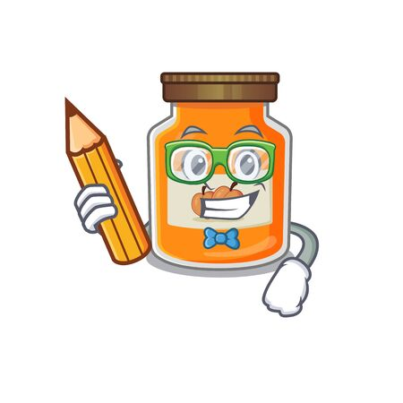 A smart Student peach jam character holding pencil. Vector illustration Ilustrace