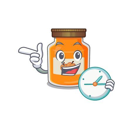 cartoon character concept peach jam having clock. Vector illustration Ilustrace