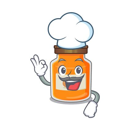Peach jam cartoon character working as a chef and wearing white hat. Vector illustration