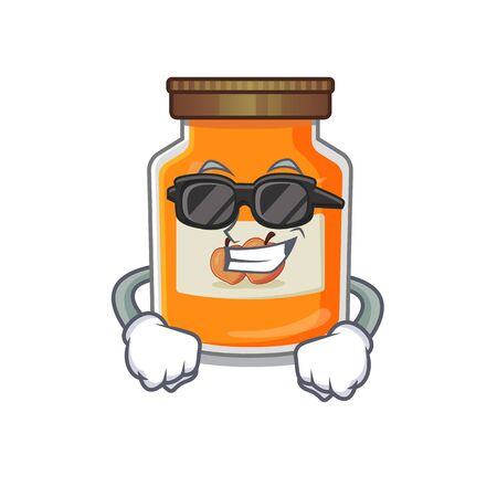 Super cool peach jam character wearing black glasses. Vector illustration
