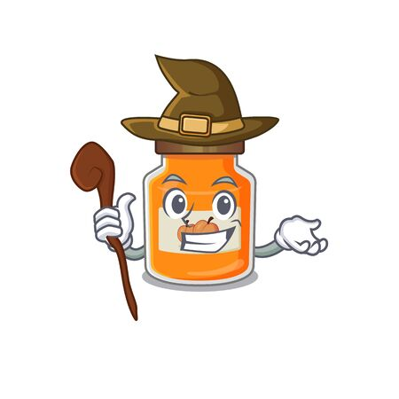 a mascot concept of peach jam performed as a witch. Vector illustration Ilustrace