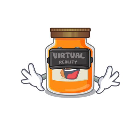 A Picture of peach jam character wearing Virtual reality headset. Vector illustration Ilustrace