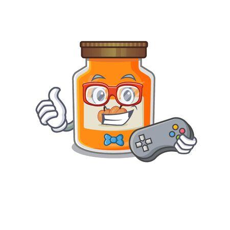Smiley gamer peach jam cartoon mascot style. Vector illustration