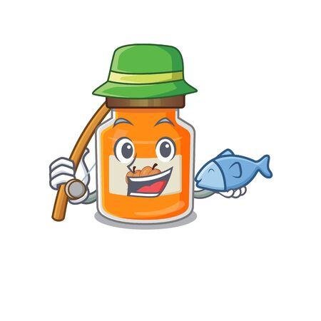 A Picture of happy Fishing peach jam design. Vector illustration Reklamní fotografie - 140626831