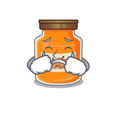 Peach jam cartoon character concept with a sad face. Vector illustration Ilustrace