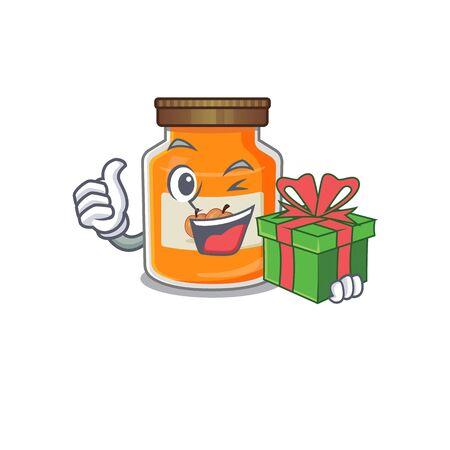 Happy peach jam character having a gift box. Vector illustration Ilustrace