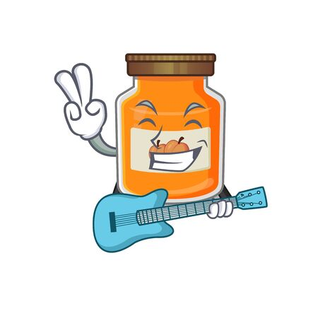 A picture of peach jam playing a guitar. Vector illustration