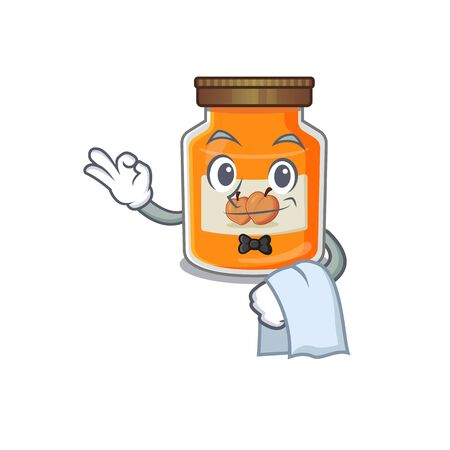 Sweet peach jam Character working as a Waiter. Vector illustration Ilustrace
