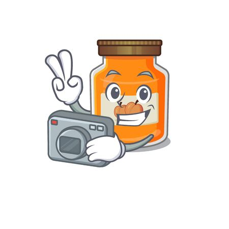 Cool Photographer peach jam character with a camera. Vector illustration Reklamní fotografie - 140626837