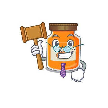 Smart Judge peach jam in mascot cartoon character style. Vector illustration