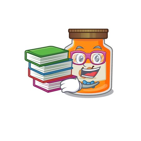 mascot cartoon of peach jam studying with book. Vector illustration Ilustrace