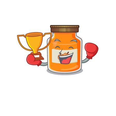 fantastic Boxing winner of peach jam in mascot cartoon design. Vector illustration