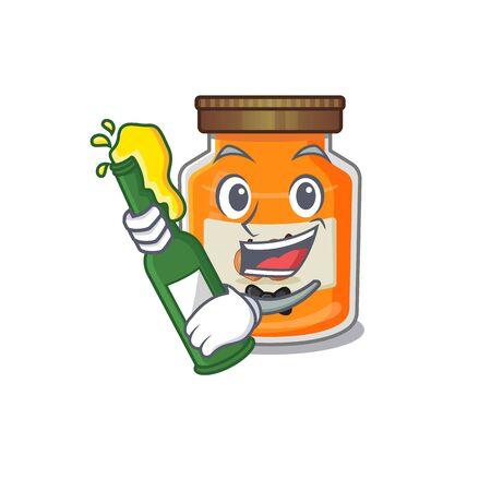 mascot cartoon design of peach jam with bottle of beer. Vector illustration Ilustrace