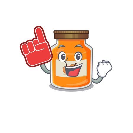 A picture of peach jam mascot cartoon design holding a Foam finger. Vector illustration Ilustrace