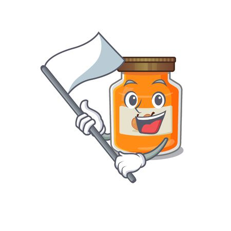 Funny peach jam cartoon character style holding a standing flag. Vector illustration