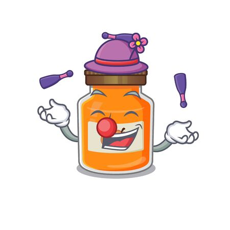 a lively peach jam cartoon character design playing Juggling. Vector illustration