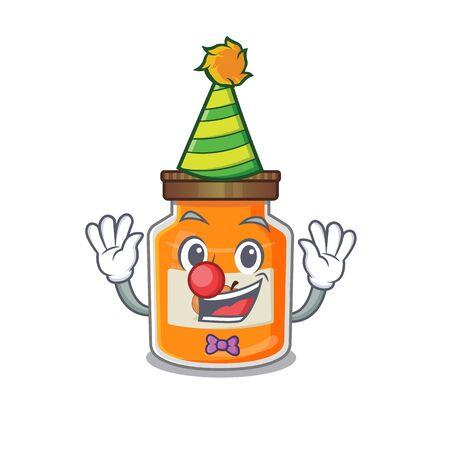Funny Clown peach jam cartoon character mascot design. Vector illustration