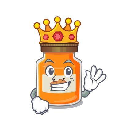 A cartoon mascot design of peach jam performed as a King on the stage. Vector illustration