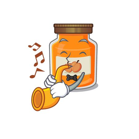 mascot design concept of peach jam playing a trumpet. Vector illustration