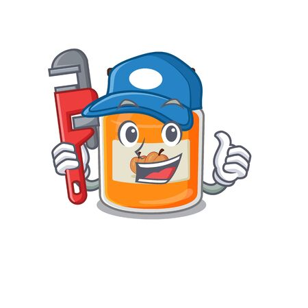 A cute picture of peach jam working as a Plumber. Vector illustration