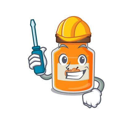 cartoon character style peach jam working as an automotive. Vector illustration