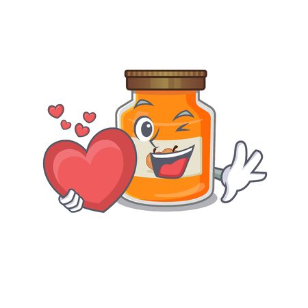 Romantic peach jam cartoon picture holding a heart. Vector illustration