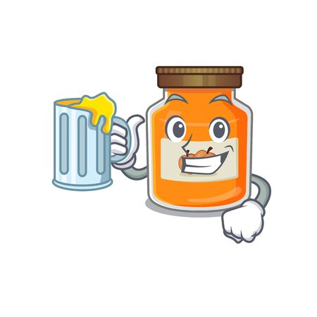 Smiley peach jam mascot design with a big glass. Vector illustration