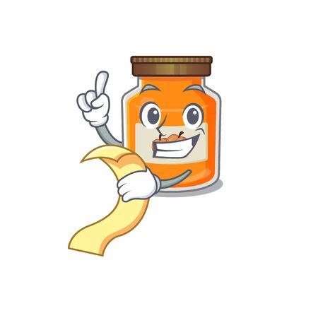 A funny cartoon character of peach jam holding a menu. Vector illustration