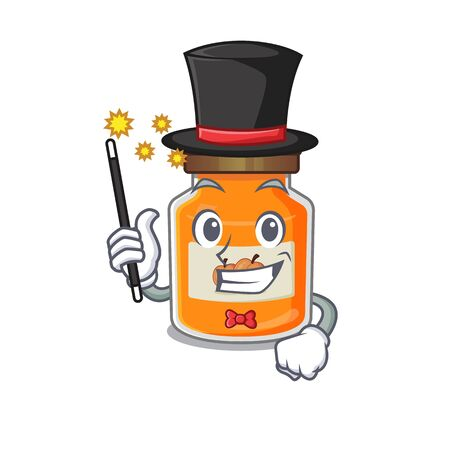 A picture of peach jam performance as a Magician. Vector illustration Ilustrace