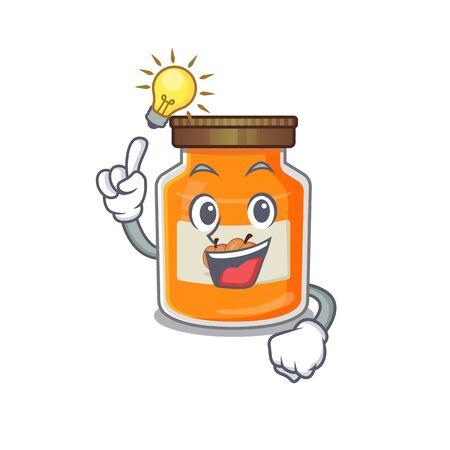 a clever peach jam cartoon character style have an idea gesture. Vector illustration