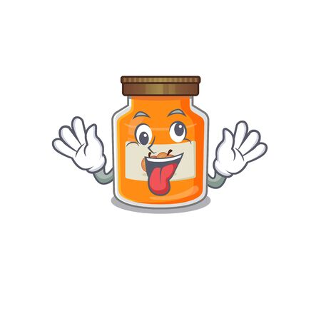 Cute sneaky peach jam Cartoon character with a crazy face. Vector illustration