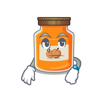 cartoon character design of peach jam on a waiting gesture. Vector illustration